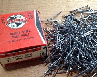 Vintage Nails, Wire Nails, Atlas Nails, Salvaged Hardware, Restoration Hardware, Woodworking, Carpentry, Craft Supply
