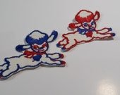 Pair of Vintage Lamb Appliques, Blue Red White Lambs Embroidery Appliques, Vintage Embroidered Applique Animals