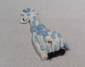 Vintage Giraffe Applique, Light Blue White Giraffe Embroidery Applique, Vintage Embroidered Applique Animals