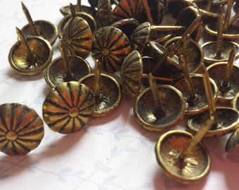 75 Vintage Upholstery Tacks, Old Tacks, Salvaged Hardware, Restoration Hardware, Woodworking, Carpentry, Craft Supply, Upholsterers Tacks
