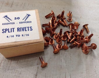 Vintage Copper Coated Split Rivets,  New Old Stock Hardware Supply - In Original Box of 50
