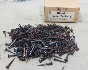 Box of Vintage Blued Lace Tacks 6/16 X 6, Upholstery Tacks, Restoration Hardware, Salvaged Hardware, Woodworking, Carpentry, Craft Supply