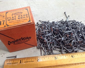 Box of Vintage Nails, Flat Head Nails, Small Nails, Wire Nails, Restoration Hardware, Salvaged Hardware, Carpentry, Woodworking Supply