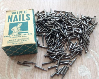 Vintage Wire Cobbler Nails, Clinching Nails, Carpentry, Woodworking Nails, New Old Stock Hardware - In Original Box