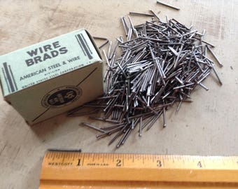 Wire Brads, American Wire Nails, Vintage Finish Nails, Restoration Hardware, Assemblage, Salvaged Hardware, Woodworking, Carpentry Supply