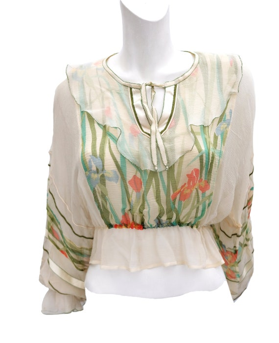 Vintage Peasant Blouse with Hand Painted Flowers,