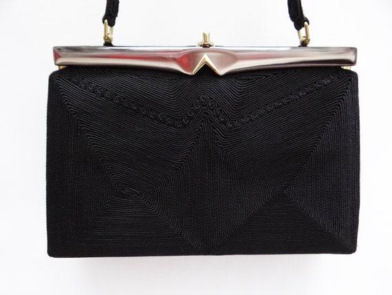 Vintage 1950s Black Corded Evening Handbag