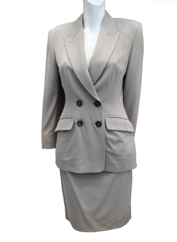 1990s Vintage Jil Sander Skirt Suit in Putty Wool,