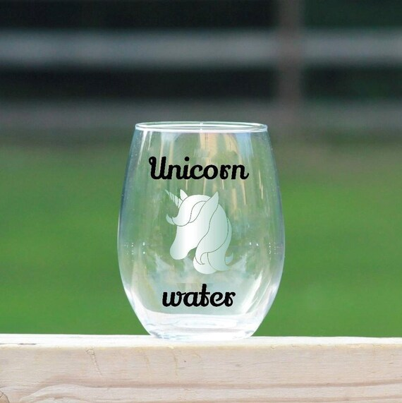 Unicorn Water Wine Glass //  Horse Wine Glass