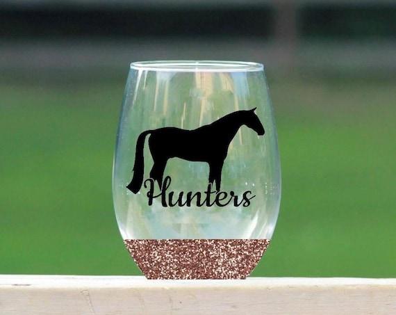 Hunter horse stemless wine glass // glitter wine glass