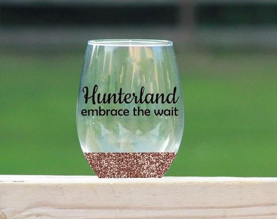 Hunterland embrace the wait stemless wine glass // glitter wine glass