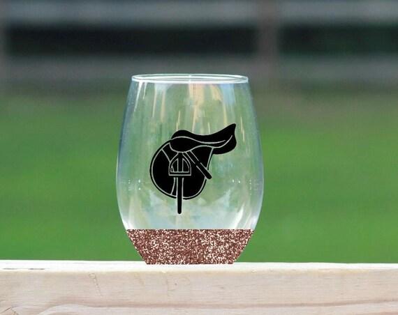 Saddle stemless wine glass // glitter wine glass