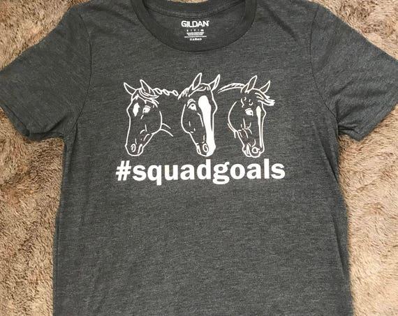 Horses #squadgoals Super Soft Ladies Short Sleeve Shirt Equestrian