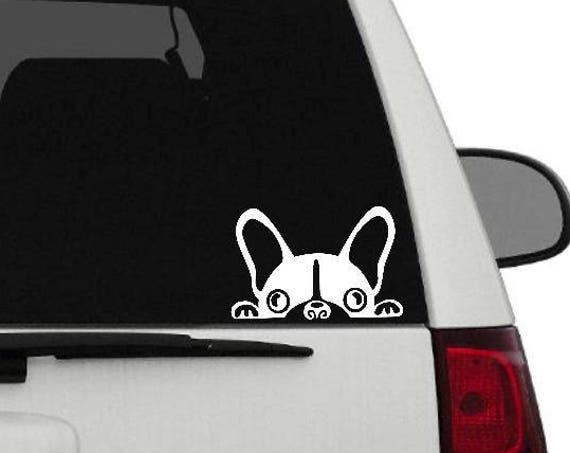 French Bulldog Vinyl Sticker     Frenchie Decal     Frenchie Love     Frenchie Peeking