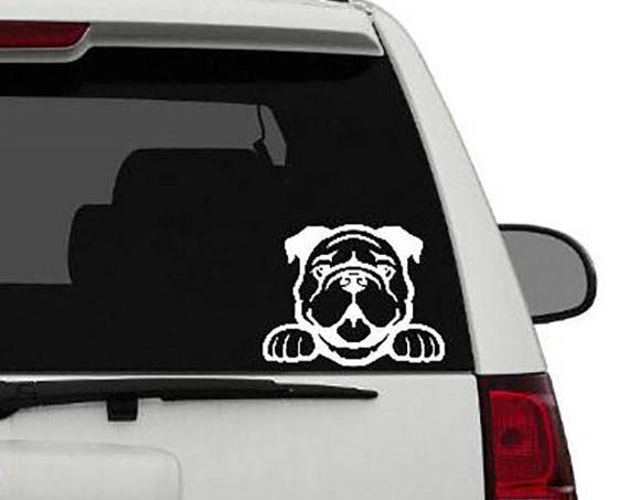 Bulldog Vinyl Sticker    Bulldog Decal     Bulldog Love     Bulldog Peeking