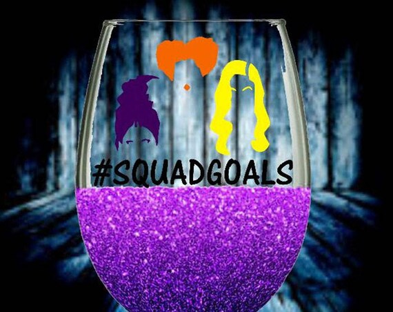 Hocus Pocus Stemless Wine Glass, Squad Goals, Witch Glitter Glass, Halloween, hocus pocus squad, glitter wine glass