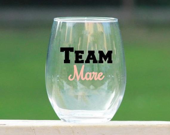 Team Mare Wine Glass //  Horse Wine Glass