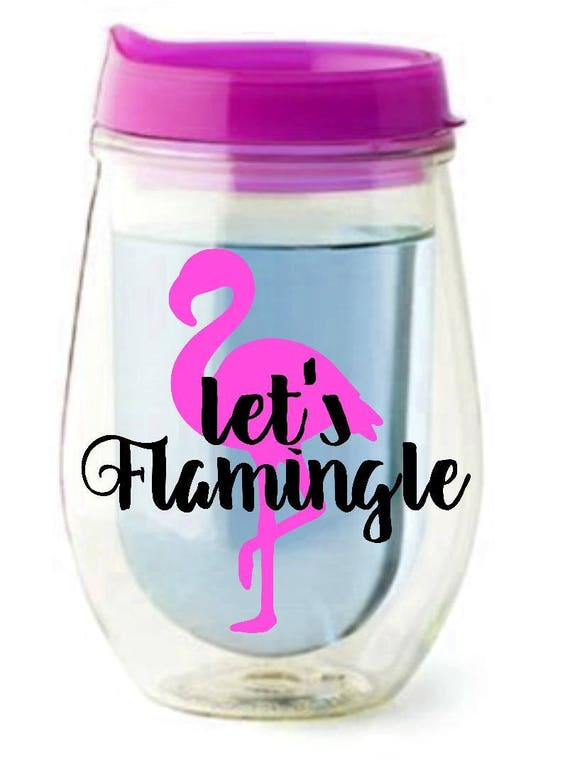 Let's Flamingle//Bev2Go Stemless Tumbler//Personalized Wine Glass//Pool Time//Acrylic Tumbler ROSE GOLD now available too!