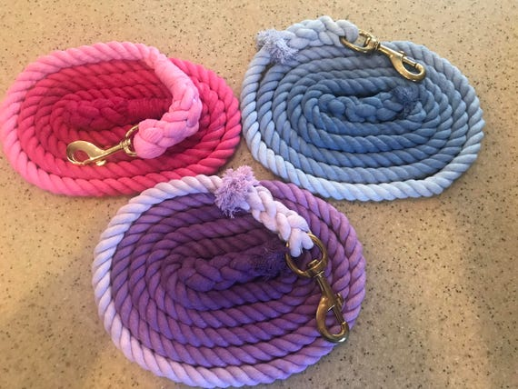 "Ombre Hand Dyed 3/4"" Cotton Lead Ropes // Horse Lead Rope // Custom Colors"