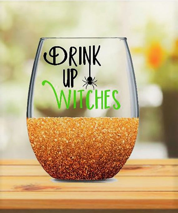 Drink up Witches Glitter Dipped Wine Glass, Witch Glitter Glass, Halloween, glitter wine glass