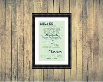 Adoption Poem Personalized Digital Print: JPEG, 11x14, Printable, Wall Art, Nursery Decor, Mother's Day, Father's Day, Adoption Day