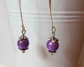 Earrings lilac magic beads
