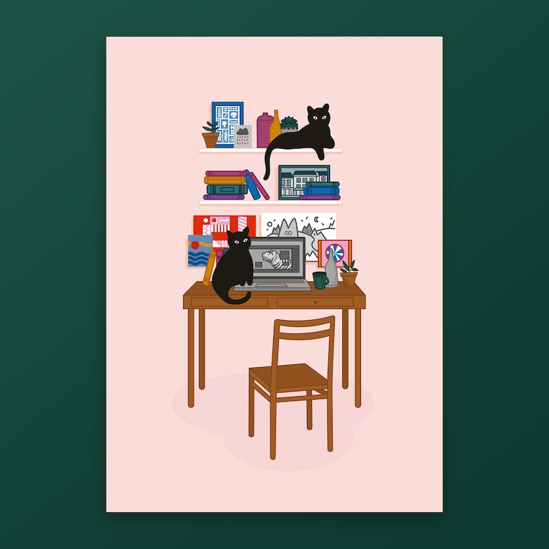Cat Print  Prints Wall Art  Poster Print  Home Print  Cat image 0