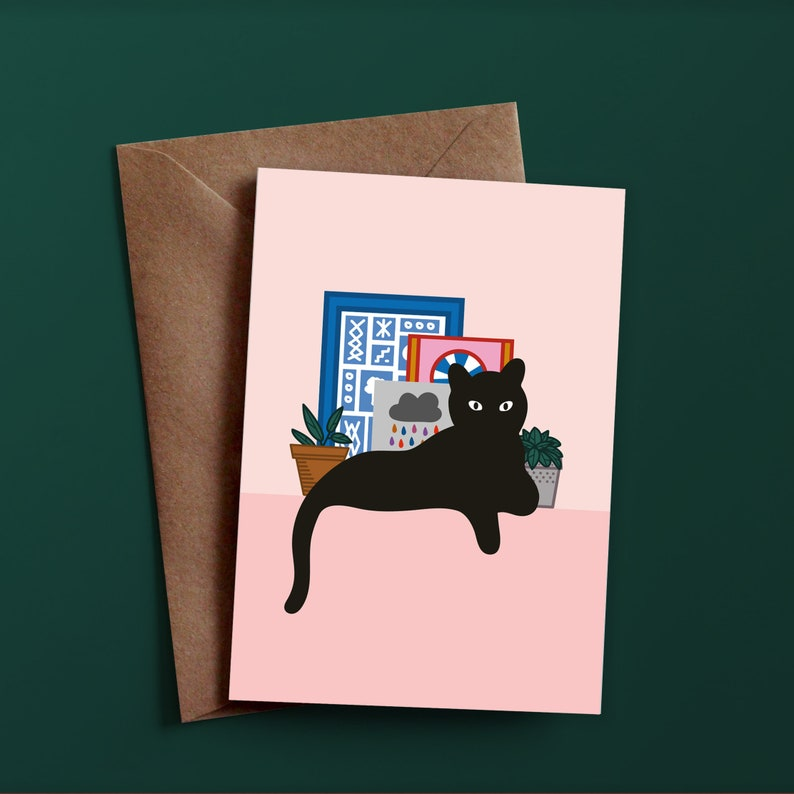 Cat Card  Greeting Cards  Birthday Cards  Anniversary Card image 0