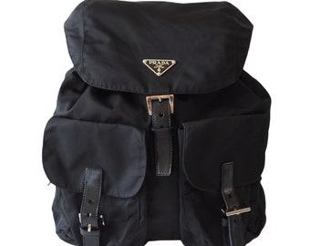 PRADA Nylon Backpack Bag Black Logo Purse Authentic