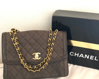 CHANEL Quilted CC Logo Lambskin w Chain Shoulder Bag Brown box vintage auth 5e9a5ae9fa6df