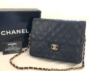 CHANEL Quilted CC Logo Lambskin Chain Shoulder Bag Black box vintage auth de41f6962cd48