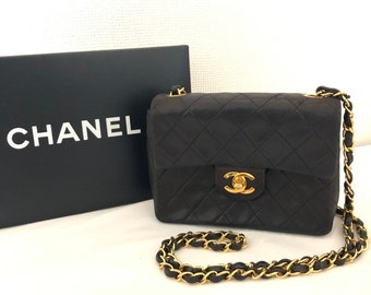 41f1aeb19ad1 CHANEL Quilted Mini Matelasse Shoulder Bag Black Lambskin Vintage Auth
