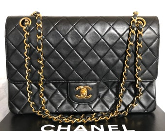 30ddfba42fb2c6 CHANEL Double Flap 25 Quilted CC Logo Lambskin w/Chain Shoulder Bag Black  vintage auth mint box