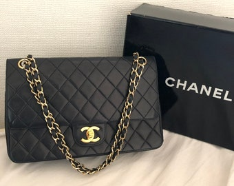 CHANEL Double Flap 25 Quilted CC Logo Lambskin w Chain Shoulder Bag Black  box vintage auth cb9dda52ea3e4