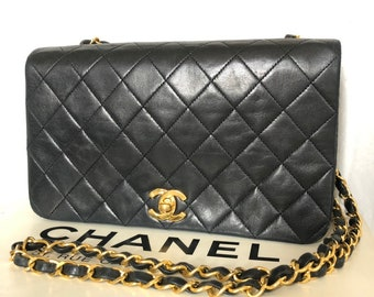 97bbad2c1862 CHANEL Auth Quilted CC Single Chain mini Shoulder Bag Black Leather Vintage  cross body box