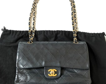 82d4489cf3df CHANEL Double Flap 25 Quilted CC Logo Lambskin w/Chain Shoulder Bag Black  vintage auth