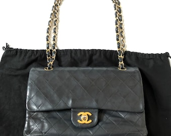 bdcfa026e33a08 CHANEL Double Flap 25 Quilted CC Logo Lambskin w/Chain Shoulder Bag Black  vintage auth