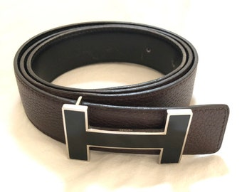 29c9fa03f92d HERMES Vintage H Logos Buckle Constance Reversible Belt Leather Size 85  Black Brown Silver Authentic