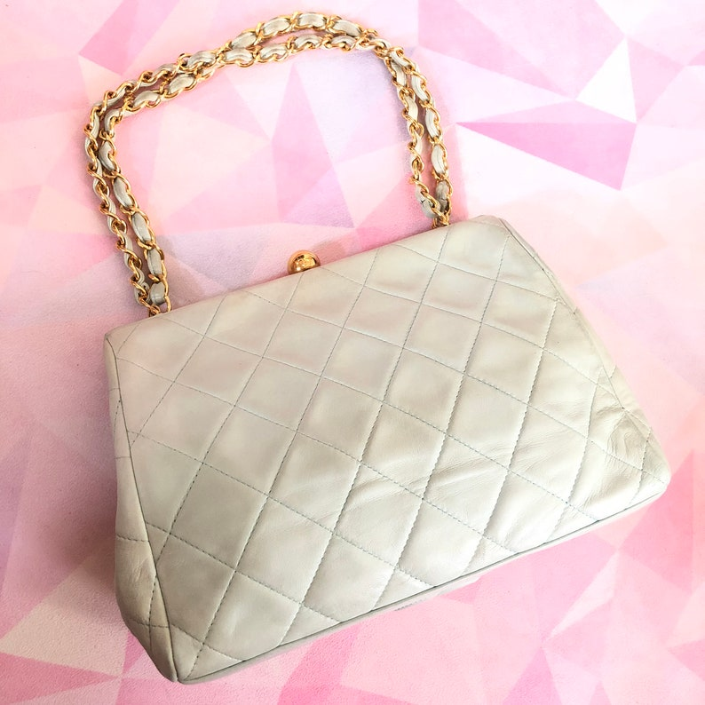 ce07444c8f5f CHANEL Quilted CC Chain Hand Bag Blue Green Vintage RARE