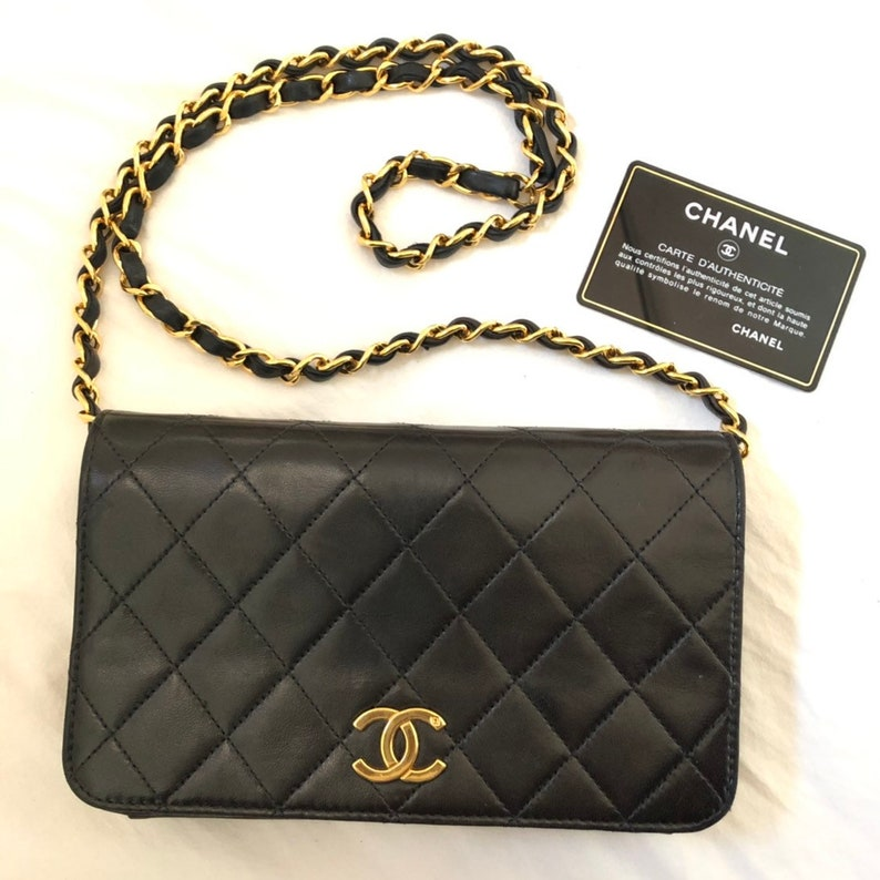 7f9cd7bd7f40 CHANEL Auth Quilted CC Single Chain Shoulder Bag Black Leather | Etsy