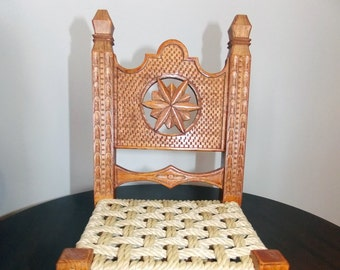 Handmade Miniature chair-traditional woodcarving.