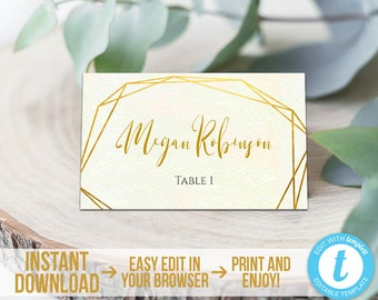 Blush Pink Printable Wedding Place Cards 03 Flat Instant Download Editable Template Modern Geometric Placecards