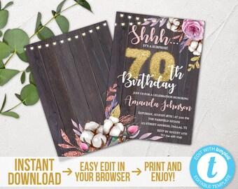 Surprise 70th Birthday Invitation Rustic Invite Printable Floral Cotton Instant Download Templett