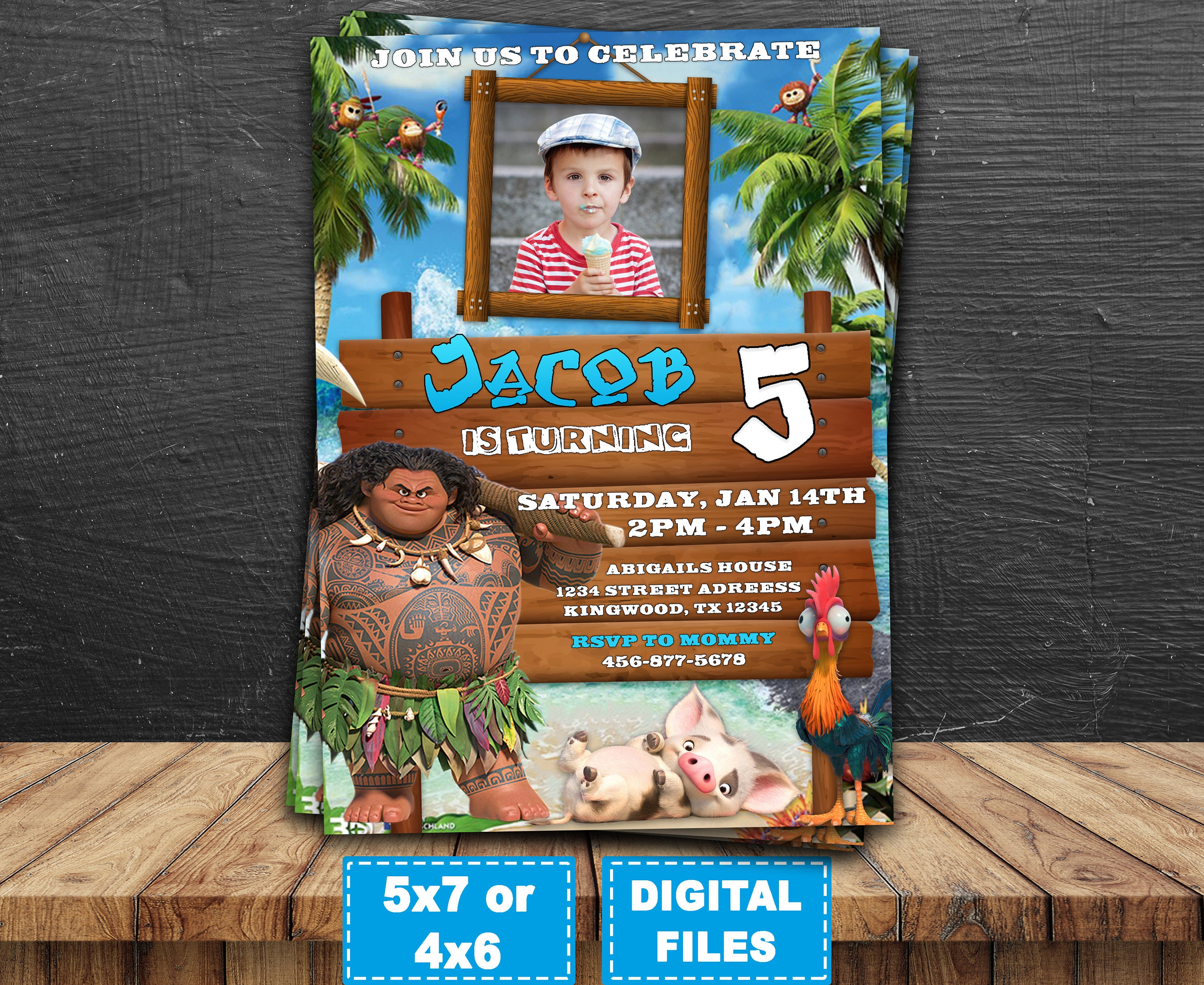 Maui Moana Invitation Birthday Invitations