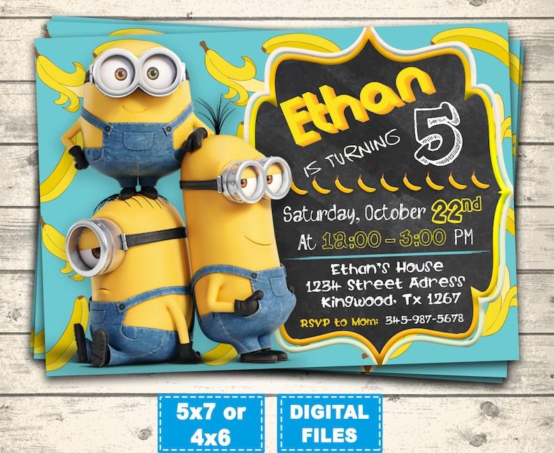 Minions Invitation Minion Birthday Invitations Minions Party Etsy