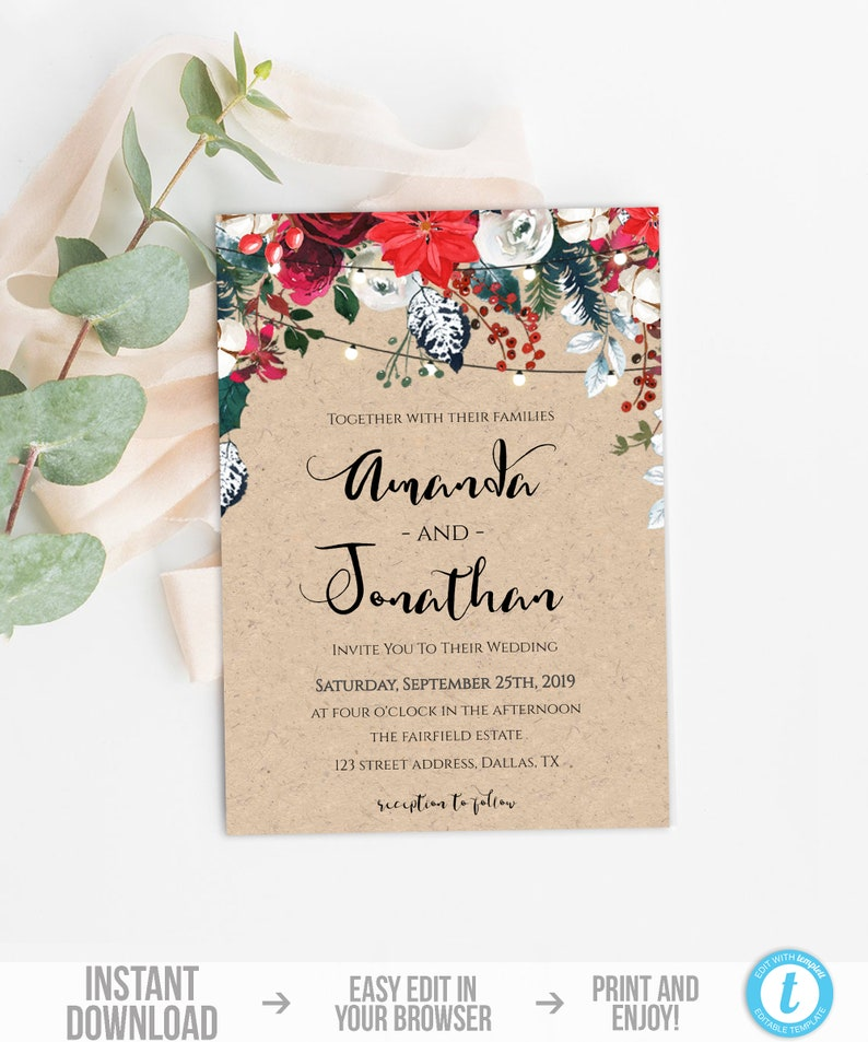 Winter Wedding Invitation Template Printable Christmas Invite Kraft Holly Berries Card Instant Download