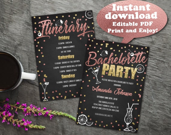 bachelorette party invitation with itinerary bachelorette etsy