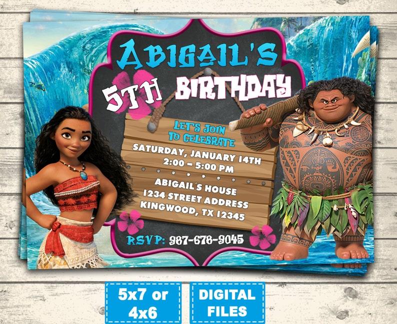 Moana Birthday Invitations Invitation