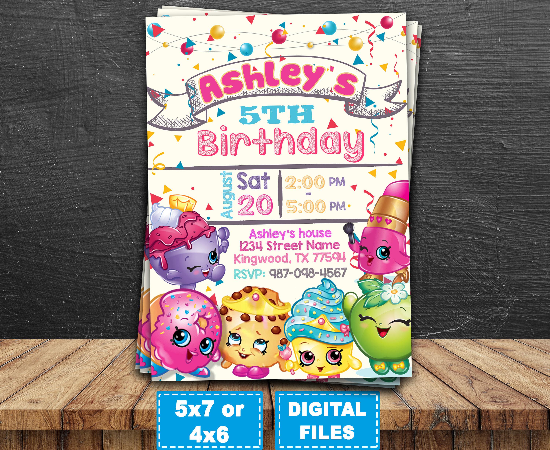 Shopkins invitation shopkins invite shopkins birthday | Etsy