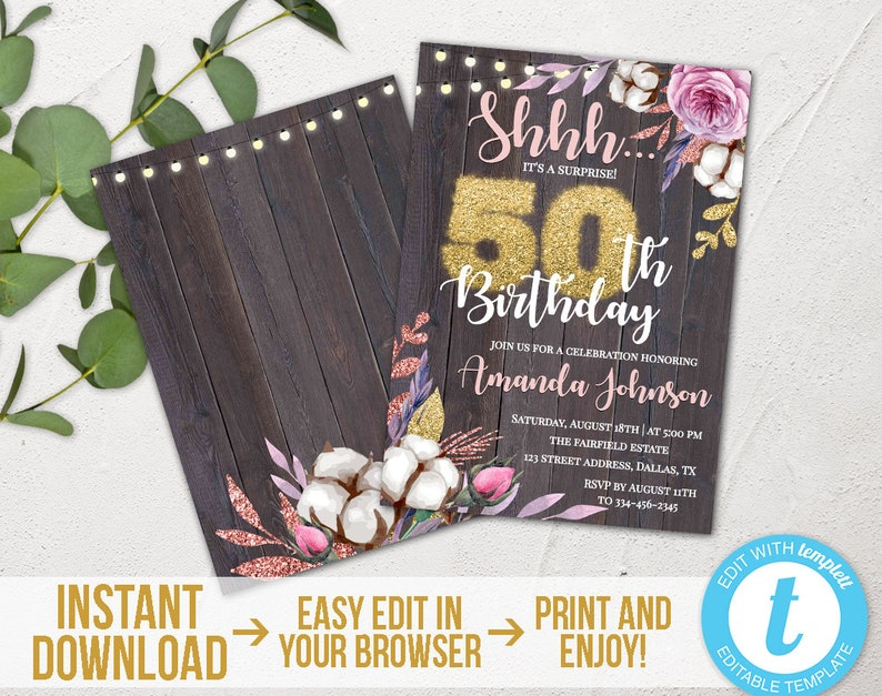 Surprise 50th Birthday Invitation Rustic